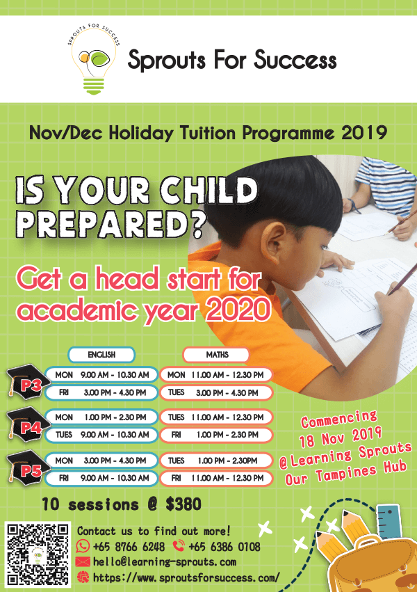 Sprouts for Success Nov/ Dec Holiday Tuition Programme